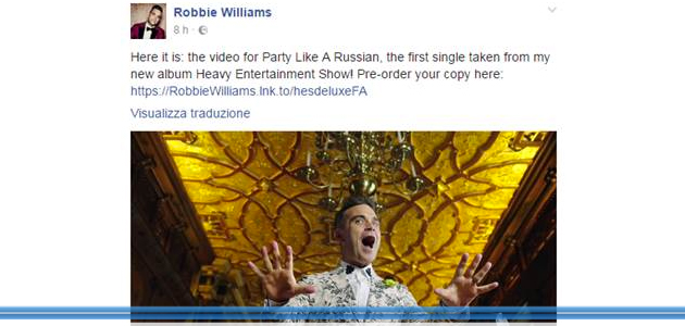 FlashNews – Robbie Williams pubblica su Facebook la premiere del nuovo video