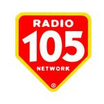 Lo scudo di Radio 105 negli anni '90. L'adesivo era distribuito nei Blockbuster d'Italia